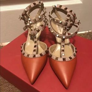 New Valentino Rock Stud Heel Leather Shoes 36.5